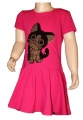 Měnící bavlněné šaty kr.rukáv - kočka - růžové