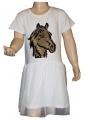 Měnící bavlněné šaty, tylová sukně - kůň - bílé