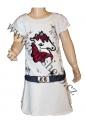 Měnící bavlněné šaty - tunika s koněm - bílá