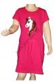 Měnící bavlněné šaty kr.rukáv - kůň - tm.růžové