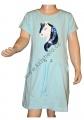 Měnící bavlněné šaty kr.rukáv - kůň - sv.modré