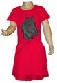 Měnící bavlněné šaty, tylová sukně - kůň - tm.růžové