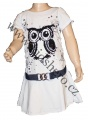 Měnící bavlněné šaty - tunika se sovou - bílá
