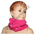 Šátek, nákrčník - slabý - bavlněný - kytky - růžový