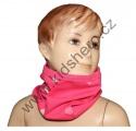 Šátek, nákrčník - slabý - bavlněný - srdce - tm.růžový